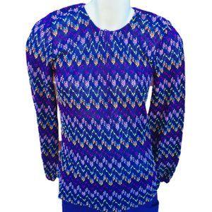 Vintage chevron knit peasant top, sz small